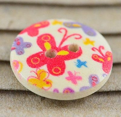 5 Red Butterfly Printed Two Hole Wood Button - (15mm) 8