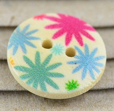5 Multi Coloured Printed Floral Two Hole Wood Button - (16mm) 6