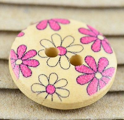 5 Pink Printed Floral Two Hole Wood Button - (19mm) 7