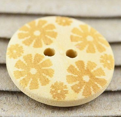 5 Classy Light Gold Printed Floral Two Hole Wood Button - (20mm) 5