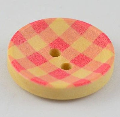 1 Pink Checkered Print Two Hole Wood Button - (20mm) 4