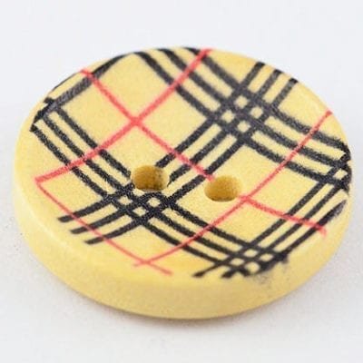 1 Black & Red Checkered Print Two Hole Wood Button - (20mm) 1