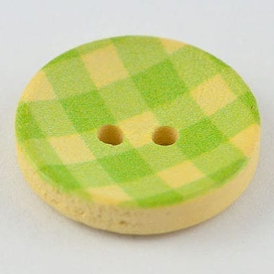 1 Green Checkered Print Two Hole Wood Button - (20mm) 2