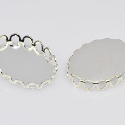 2 Oval Shaped Metal Cabochon Setting - (18mmx13mm) 11