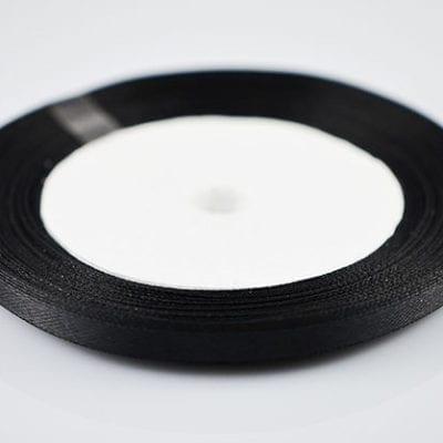 Bright New Jet Black Colour Satin Ribbon Spool - (22 meters) 5