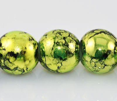 20 Greenyellow Fancy Glass Beads (8mm) 11