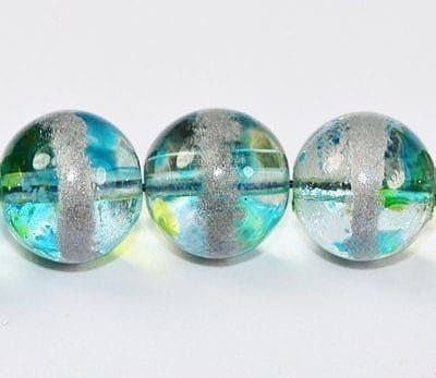 20 Light Teal Fancy Glass Beads (8mm) 2