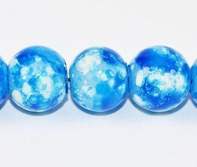 20 Turquoise Fancy Glass Beads (8mm) 1