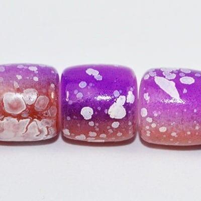 10 Purple Tube Fancy Glass Beads (8mmx8mm) 3