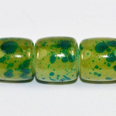 10 Forest Green Tube Fancy Glass Beads (8mmx8mm) 1