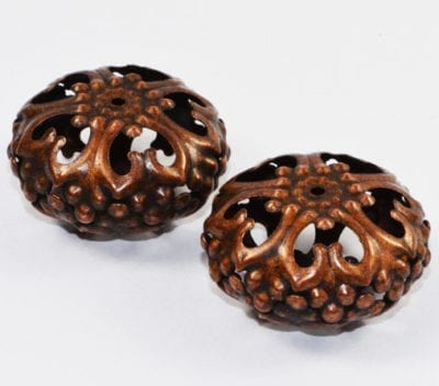 1 Large Copper Coloured Round Filigree Metal Bead - (23mm) - M18 1