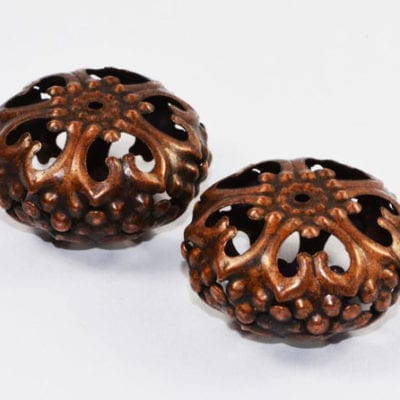 1 Large Copper Coloured Round Filigree Metal Bead - (23mm) - M18 12