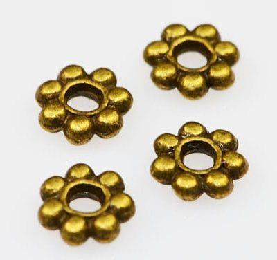 Round Antique Gold Spacer Metal Bead - (5mm) - M20 11