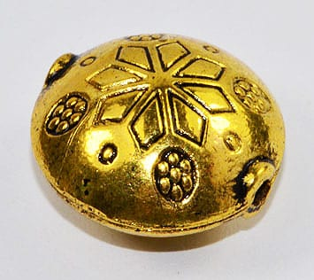 1 Large Gold Colour Round Metal Bead - (18mm) 8