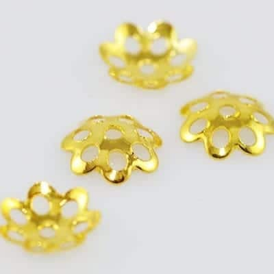 20 Gold Colour Metal Beads Caps - (6mm) 14