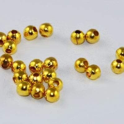 100 New Round Antique Gold Metal Crimp Spacer Beads - (2mm) 8
