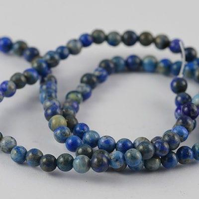 Lapis Lazuli Semi Precious Gemstones Beads Strand - (4mm) 14