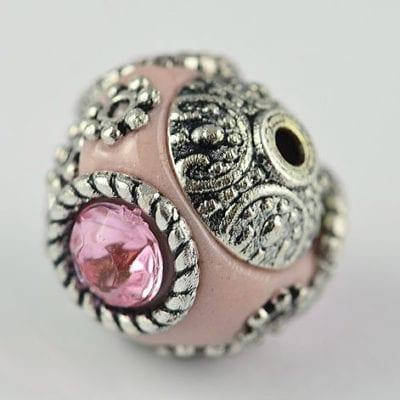 1 Hand Made Kashmiri/Indonesian Pink Bead - (14mm) 2