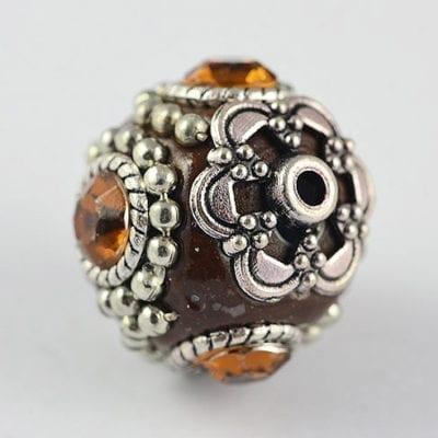 Gorgeous Brown Round Hand Made Kashmiri/Indonesian Bead - 20mm 11