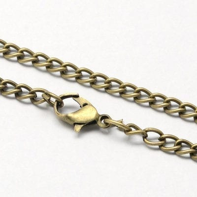 Vintage Bronze Complete Metal Twisted Link Chain - (80cm) 13