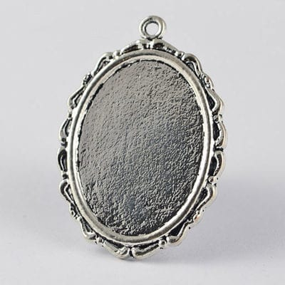 2 Oval Silver Metal Cabochon Connector Setting - (36mmx25mm) 13