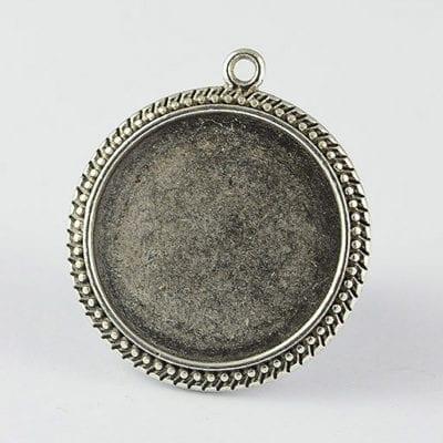 2 Stylish Round Silver Metal Bezel Cabochon Setting - (35mm) 20
