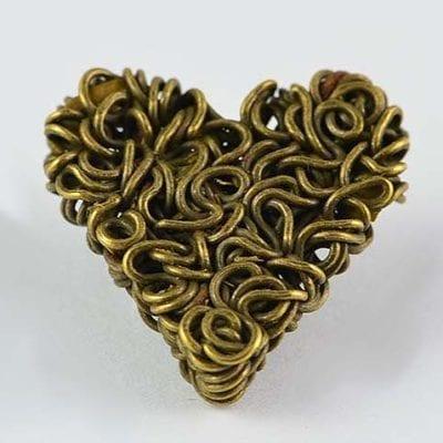1 Antique Bronze Love Heart Shape Metal Cabochon Bead - (18mm) 1