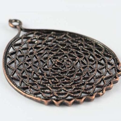 1 Antique Style Copper Metal Mesh Round Charm Bead - (40mm) 11