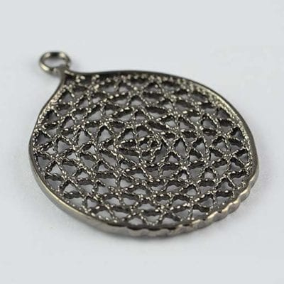 1 Black High Quality Metal Mesh Round Charm Bead - (28mm) 5