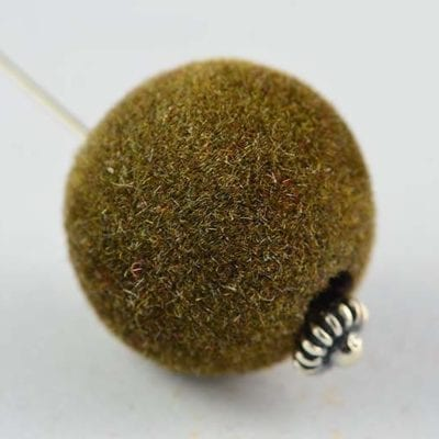 1 Brown Woven Velvet Feel Fabric Cloth Beads - (14mm) 3