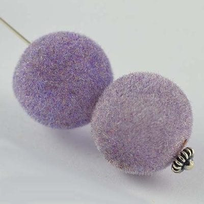1 Light Purple Woven Velvet Feel Fabric Cloth Beads - (14mm) 9