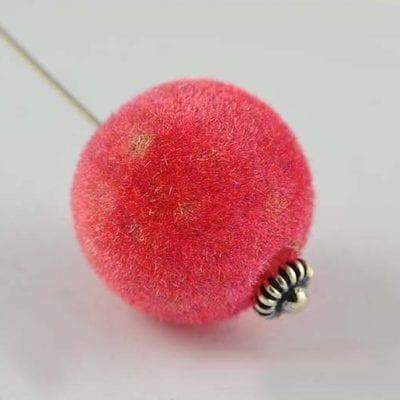 1 Dark Pink Woven Velvet Feel Fabric Cloth Beads - (14mm) 5