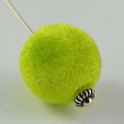1 Light Green Woven Velvet Feel Fabric Cloth Beads - (14mm) 7