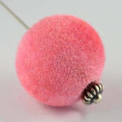 1 Light Pink Woven Velvet Feel Fabric Cloth Beads - (14mm) 8