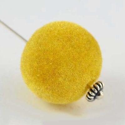 1 Gold Woven Velvet Feel Fabric Cloth Beads - (14mm) 6