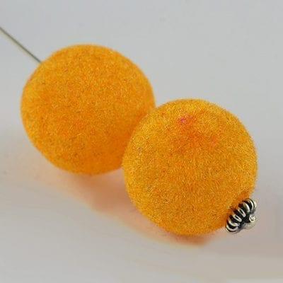 1 Orange Woven Velvet Feel Fabric Cloth Beads - (14mm) 10