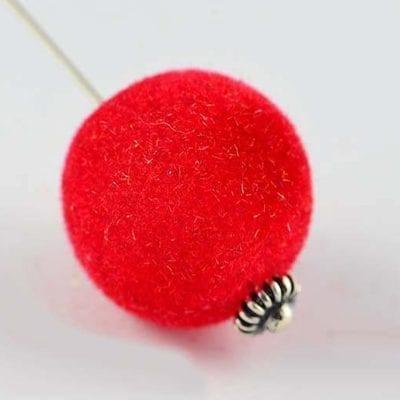 1 Red Woven Velvet Feel Fabric Cloth Beads - (14mm) 11
