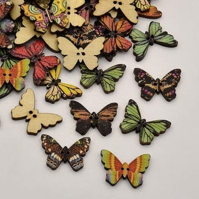 10 Butterfly Dyed 2-Hole Printed Wooden Variety Beads - (25mm) 2