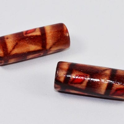 25 Lovely Hand Crafted Tube Wood Beads - (20mmx7mm) 17
