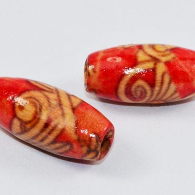 35 New Design Hand Crafted Oval Wood Beads - (16mmx8mm) 18