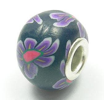 Black Purple Floral Fimo European Style Beads - (20mm) 5
