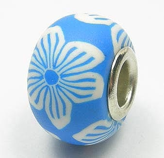 Blue With White Flowers Fimo European Beads - (18mm) 8