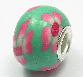Light Green With Pink Flowers Fimo European Beads - (18mm) 14