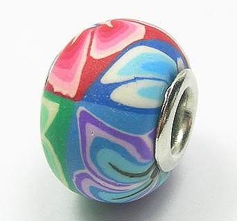 New Fimo Multicolored Designer European Beads - (18mm) 18
