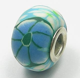 Dark Green With Blue Flowers Fimo European Beads - (18mm) 11