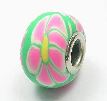 Light Green With Pink Flowers Fimo European Beads - (17mm) 13
