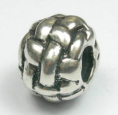 Classical Crisscross Round European Style Silver Metal Bead - X1 15
