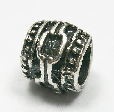 Barrel Round European Style Antique Silver Metal Bead - L1 12