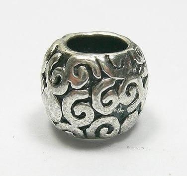 Antique Barrel Round European Style Silver Metal Bead - L1 9