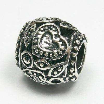 Designer Choice Floral European Antique Silver Metal Bead - L1 17